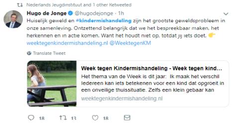 Week tegen kindermishandeling-tweet